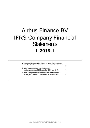 Airbus Finance BV Financial Statements FY2018