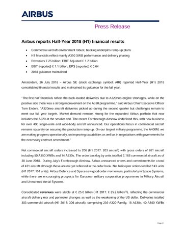 Airbus H1 2018 Press Release