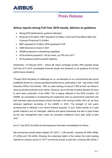 FY2018 Airbus PRESS RELEASE