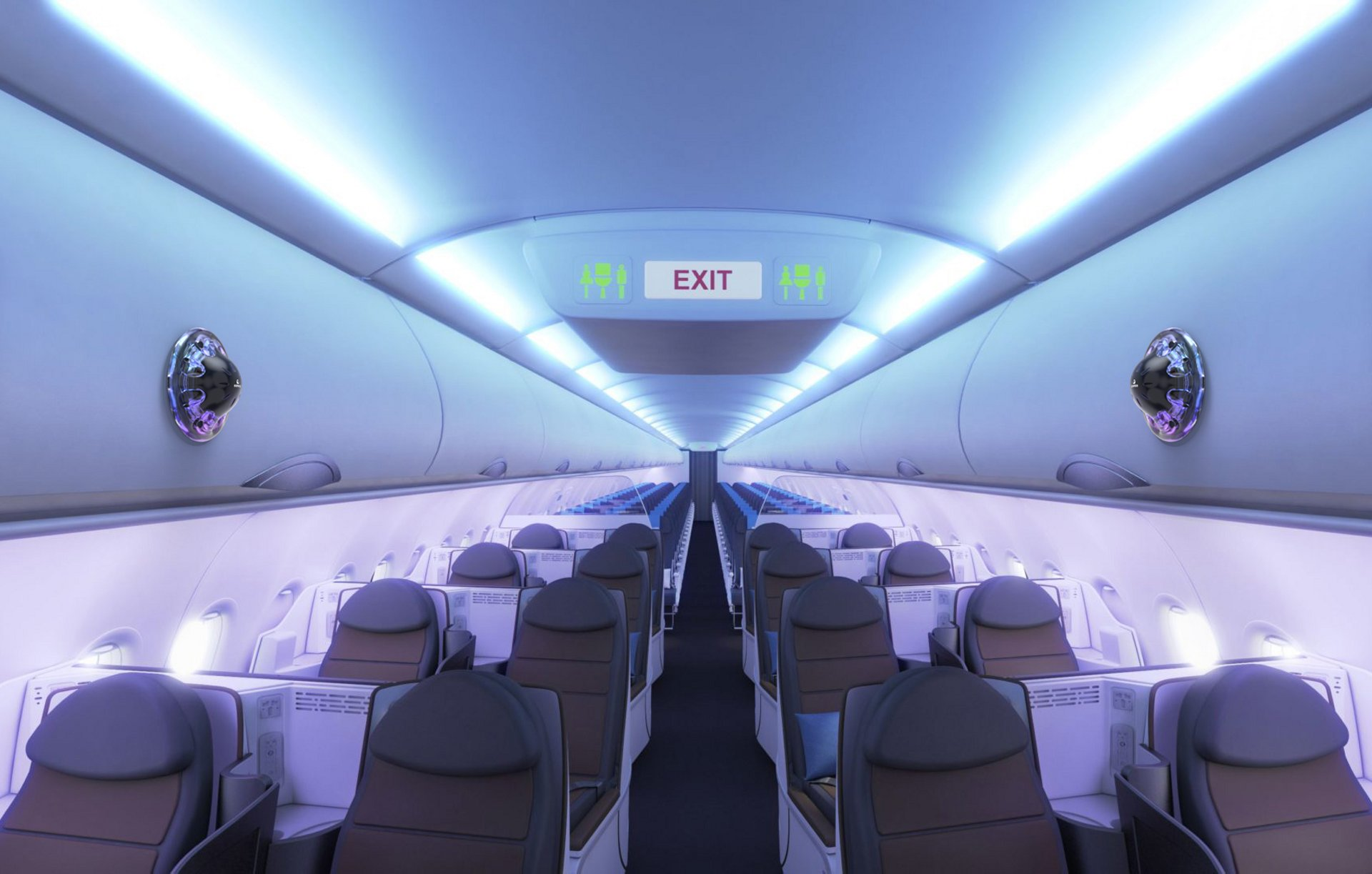 Aircraft cabin with disruptive biotechnology solutions for aviation security operations