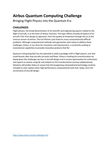 Airbus Quantum Computing Challenge