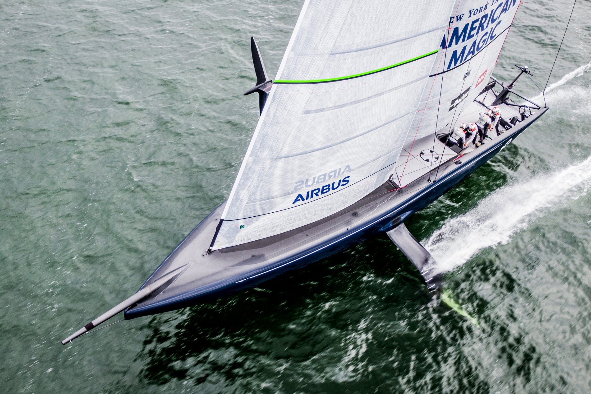 American Magic flying towards the America's Cup