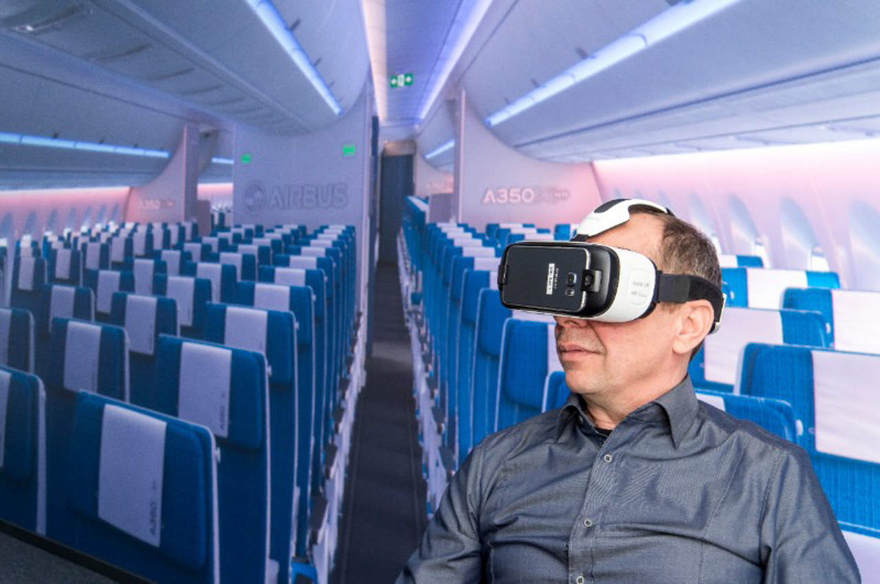 """Airbus' """"smart glasses"""" – which provide immersive 3D experiences with the company's passenger cabins of tomorrow – already have proven to be a major success with customers and trade show attendees"""