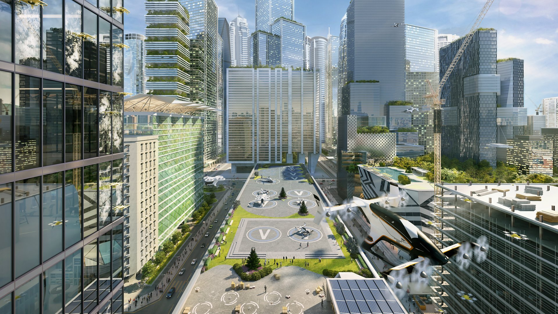 A representation of Airbus' innovative vision for urban air mobility.
