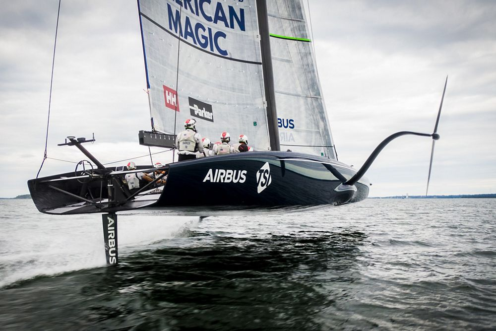 Supported by Airbus, the U.S. American Magic sailing team launched its first full-scale, 75-ft. boat – named Defiant – in preparation for the 2021 America's Cup competition.