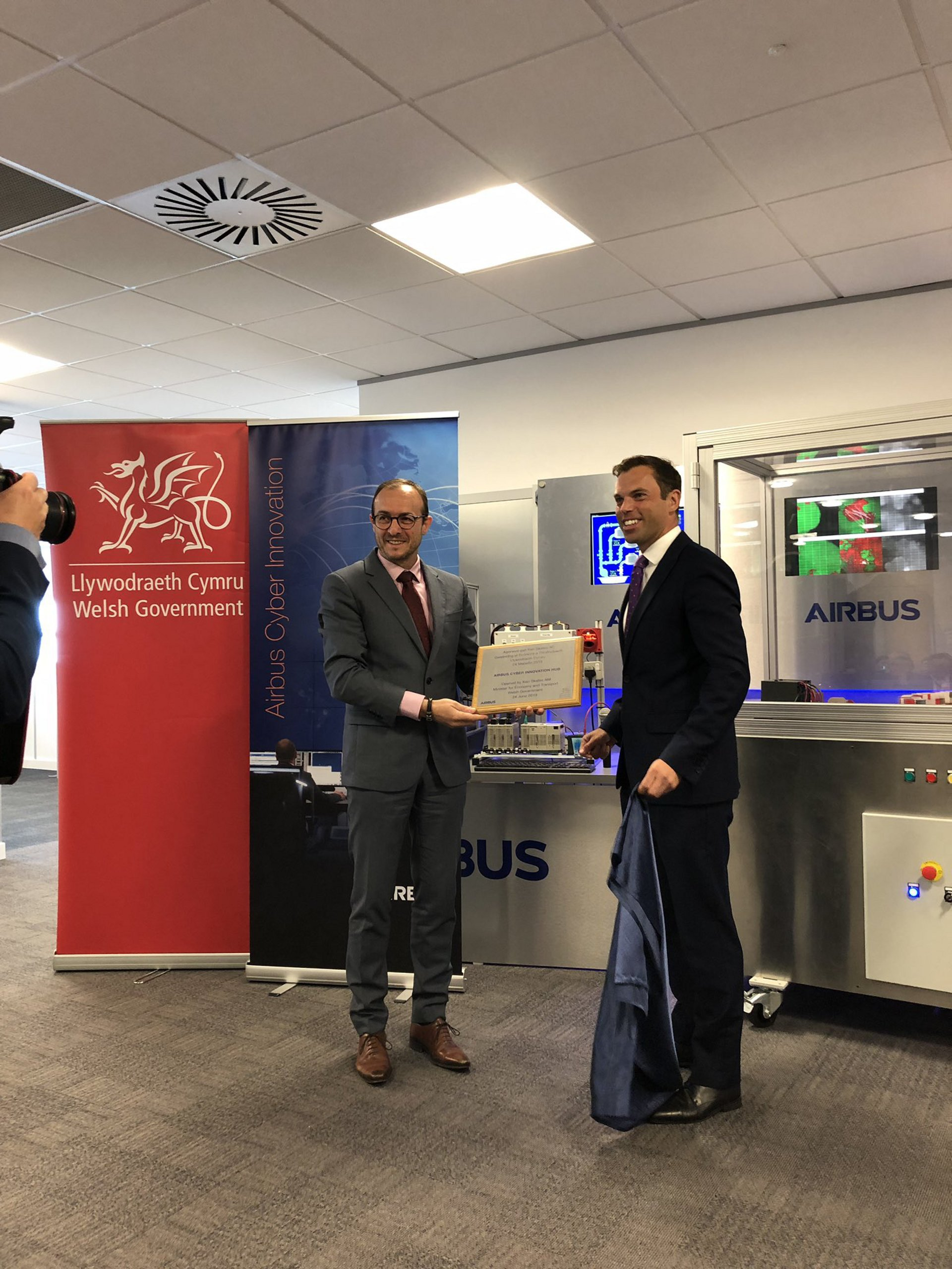 The Cyber Innovation Hub was opened by Ken Skates AM, Minister for Economy and Transport and Pascal Andrei, Chief Security Officer, Airbus
