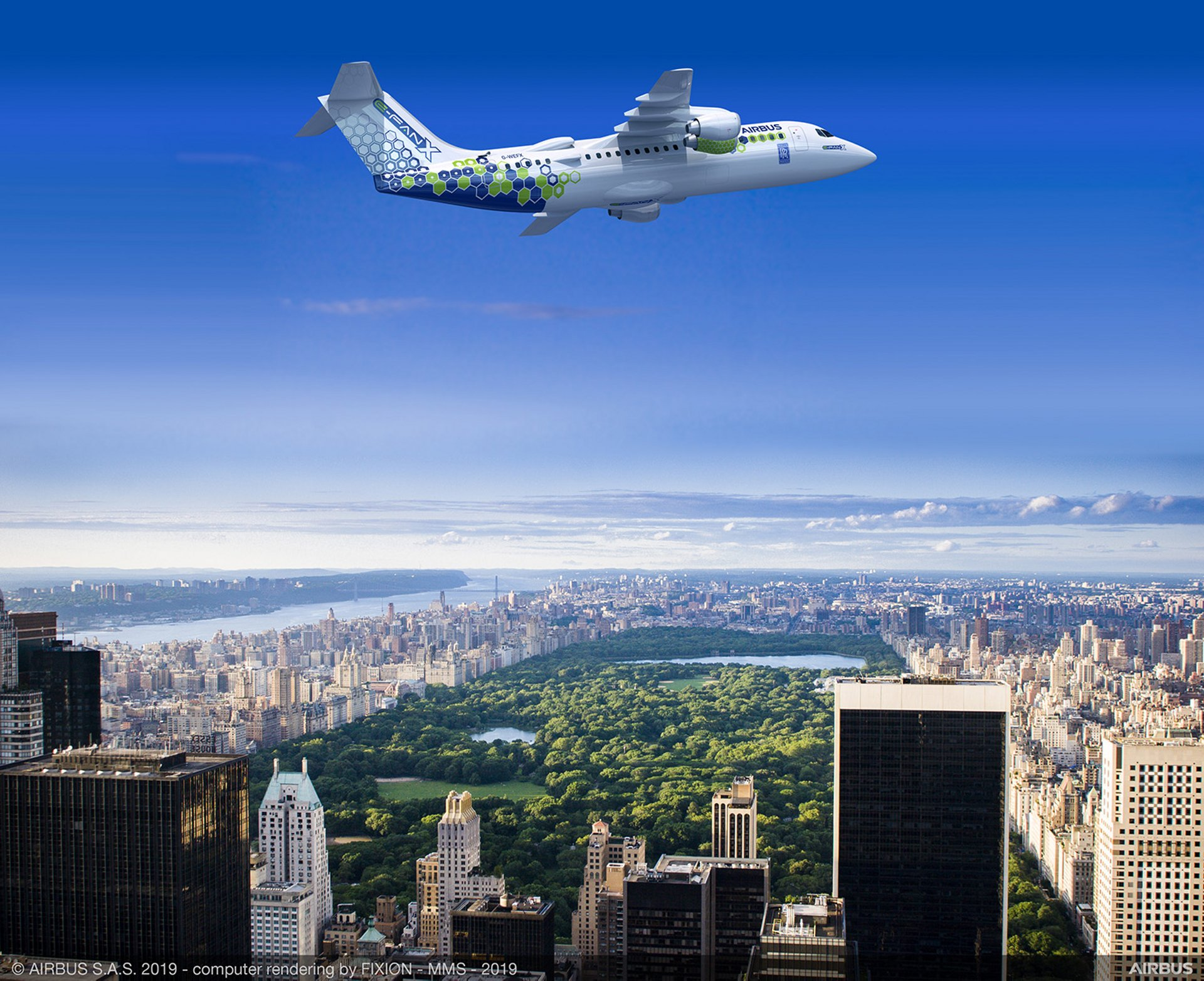Launched as an innovation project in 2017, E-Fan X is the next step in Airbus' electrification journey; the flight demonstrator that will test a 2 MW hybrid-electric propulsion system is depicted in a composite image over the city of New York