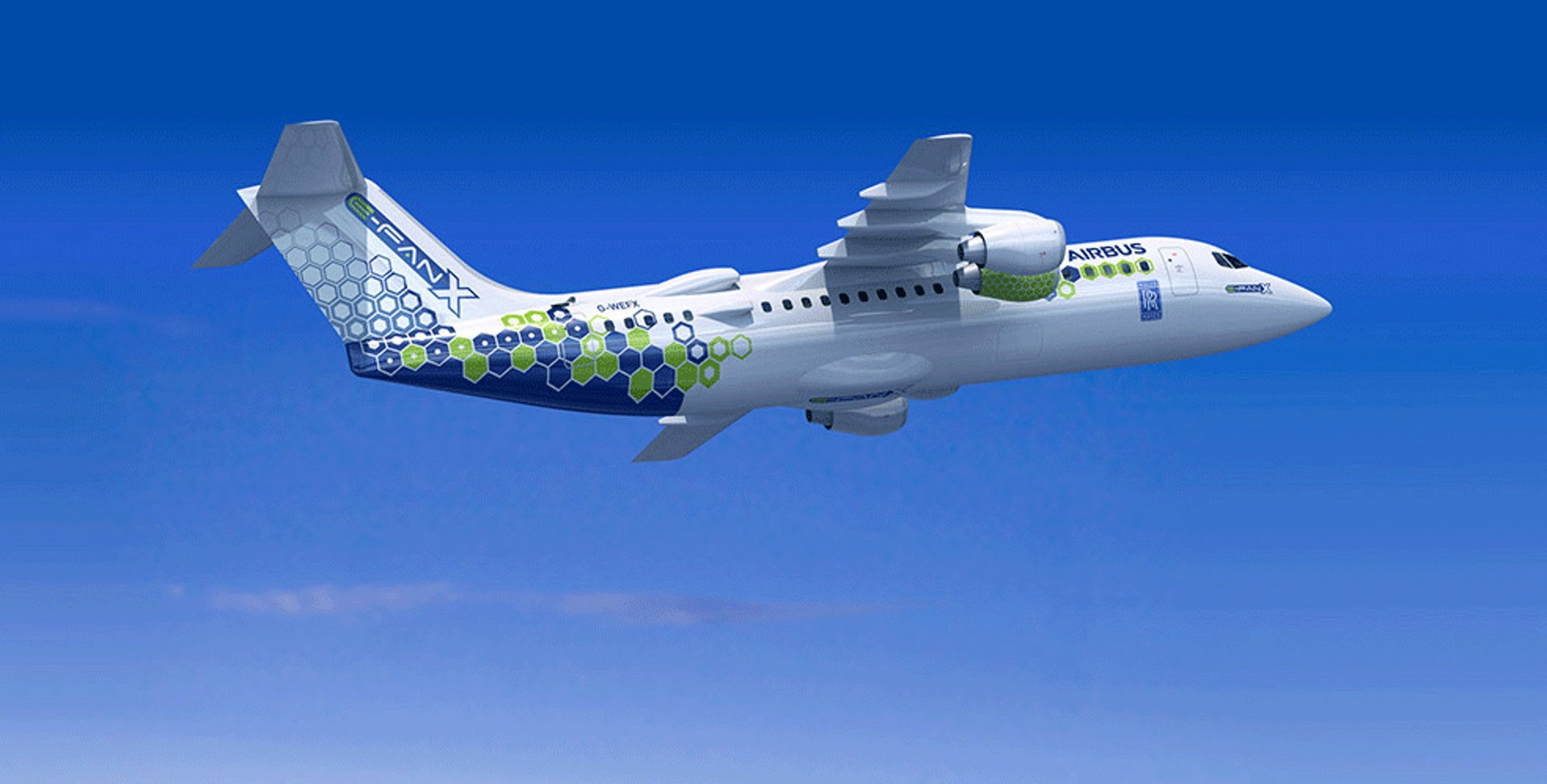 A representation of Airbus' E-Fan X hybrid-electric aircraft in flight.