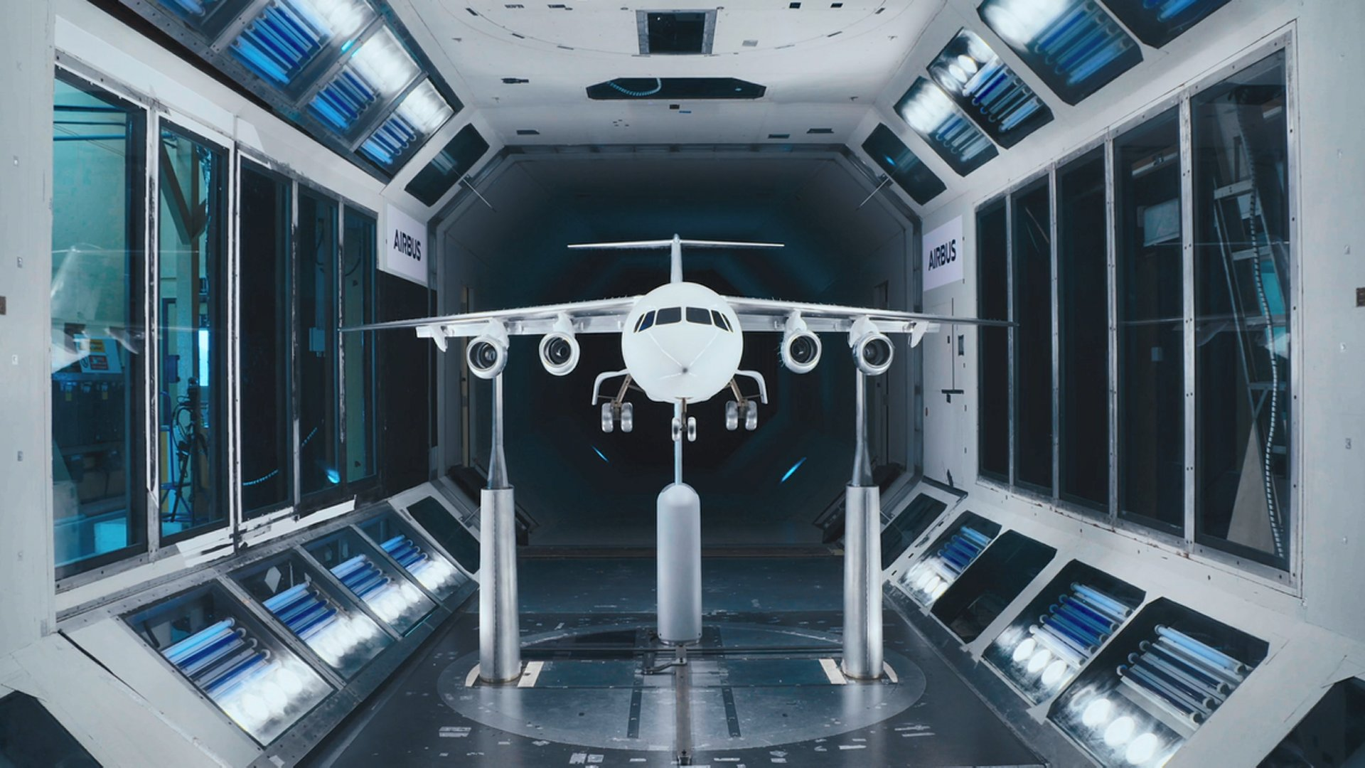 The wind tunnel testing for the E-Fan X was carried out at Airbus' wind tunnel centre in Filton, UK. All Airbus aircraft undergo wind tunnel testing at this centre.
