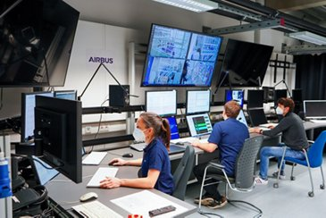 Airbus engineers in the control room of the E-Aircraft Systems House
