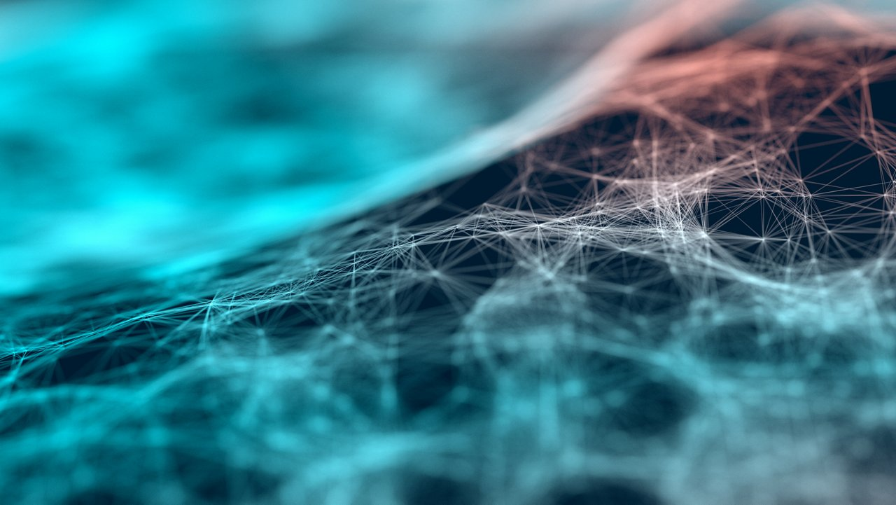 Abstract glowing particle web on a dark background