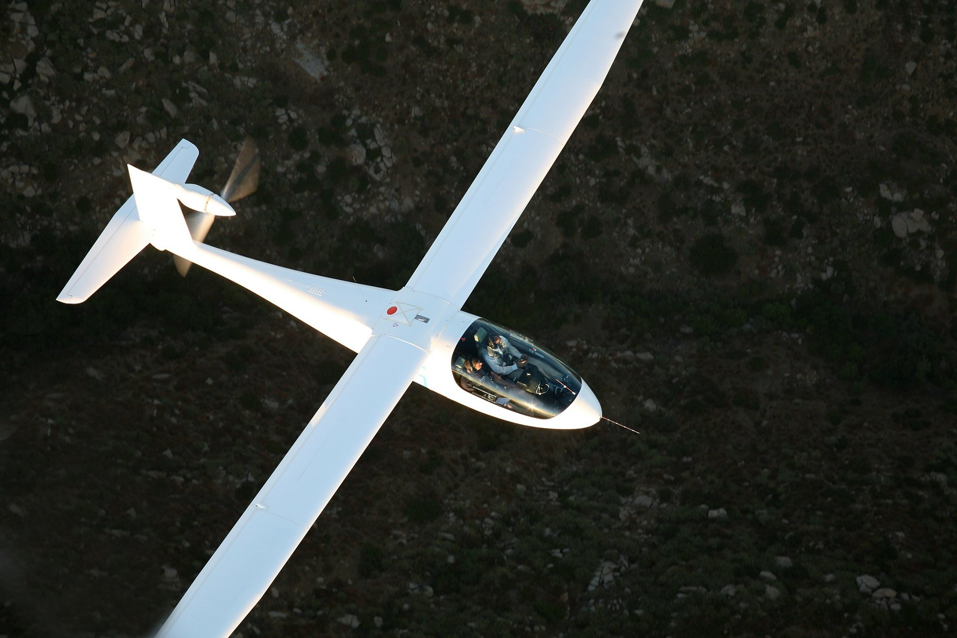 A representation of the Airbus-sponsored eGenius all-electric, two-seat aircraft in flight.