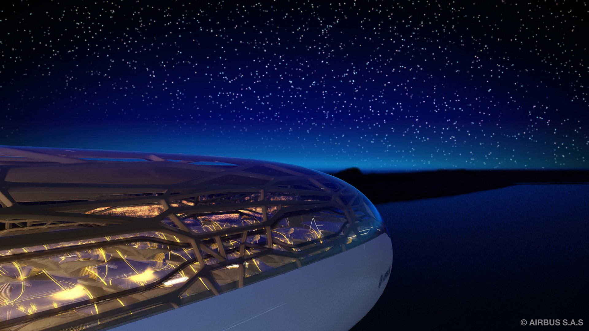 The future by Airbus - Passengers in 2050 can sit back and enjoy the night sky when travelling to destinations due to bionic structure and interactive membrane of the Airbus Concept Cabin (14 Juin 2011)