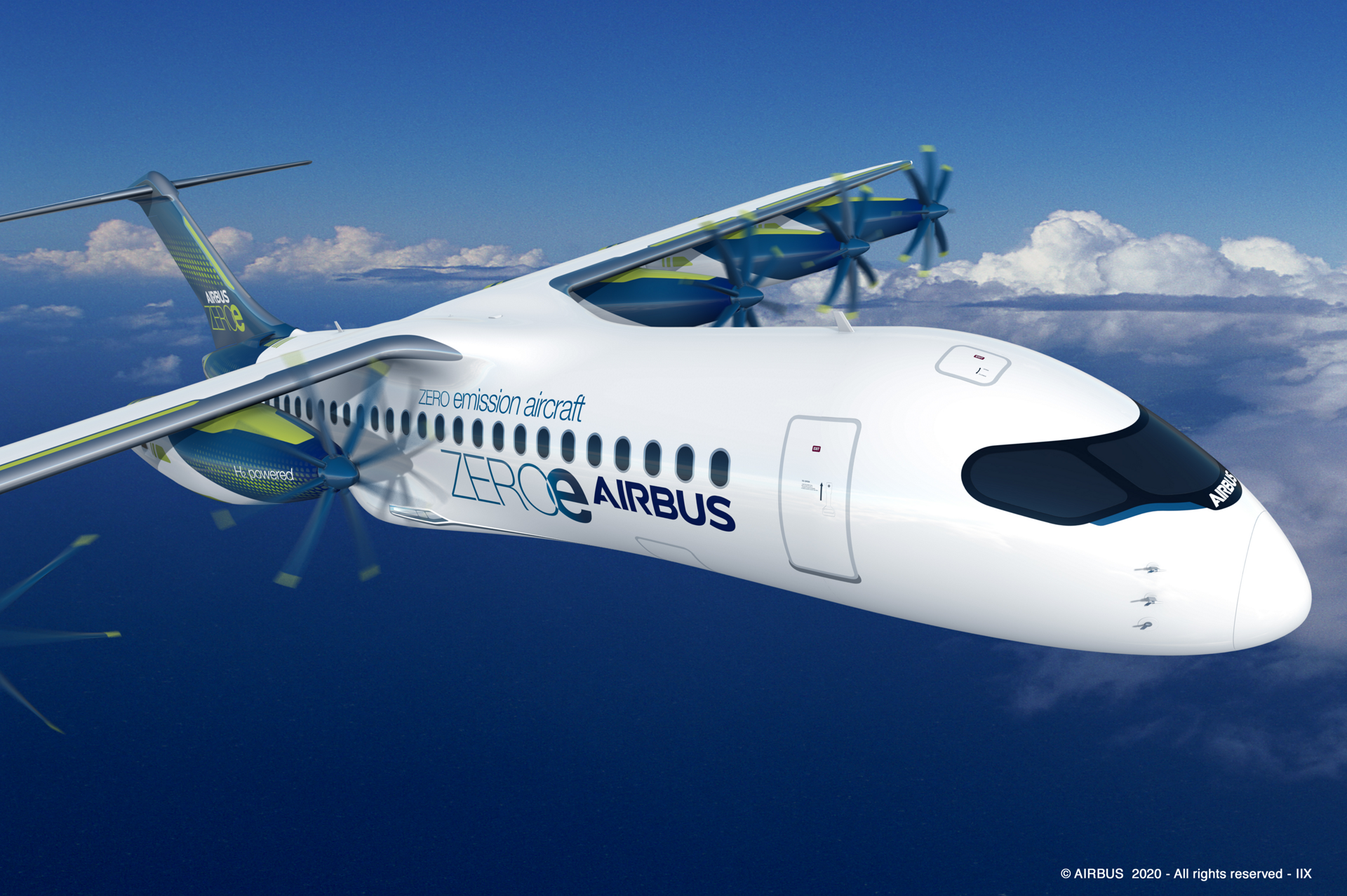 """The """"pod"""" configuration is a distributed fuel-cell propulsion system that delivers thrust to the aircraft via six propulsors arranged along the wing."""