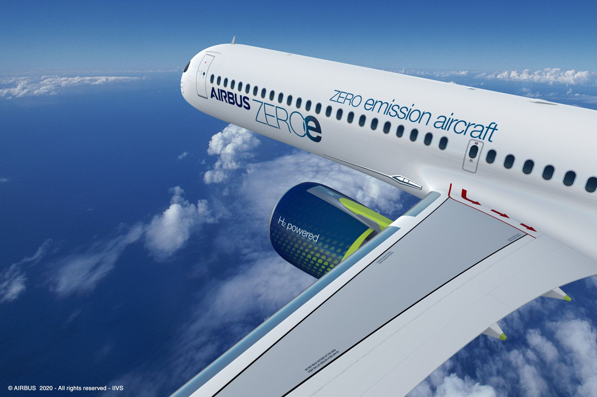ZEROe is an Airbus concept aircraft. In the turbofan configuration, two hybrid hydrogen turbofan engines provide thrust. The liquid hydrogen storage and distribution system is located behind the rear pressure bulkhead