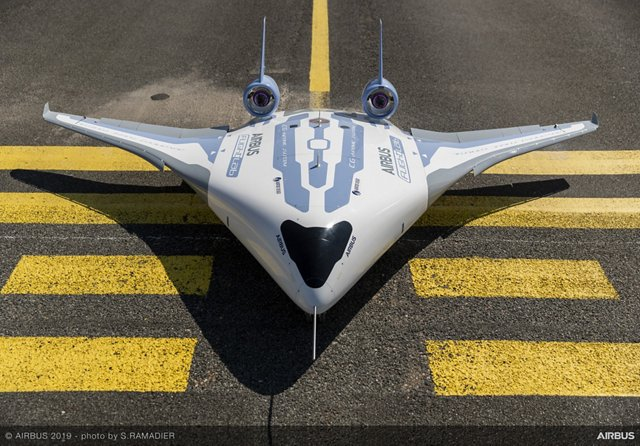 """Airbus has revealed MAVERIC (Model Aircraft for Validation and Experimentation of Robust Innovative Controls) its """"blended wing body"""" scale model technological demonstrator."""