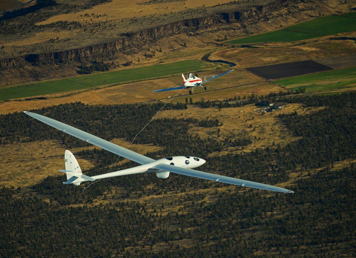 The Perlan 2 glider performs its maiden flight