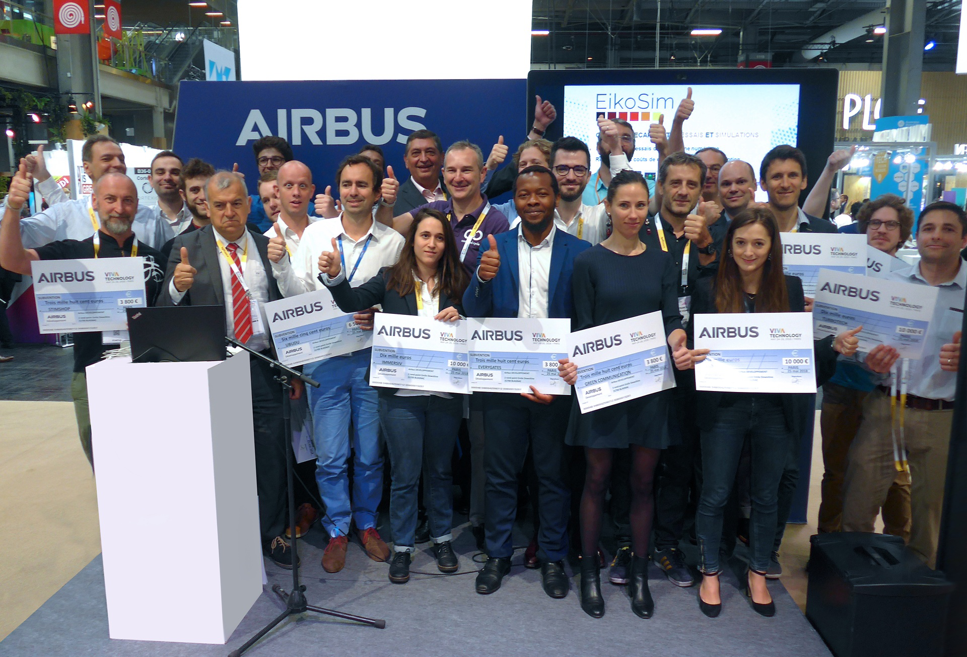 Representatives from start-ups receiving Airbus grants gathered at the 2018 VivaTech convention in Paris to mark their achievement.
