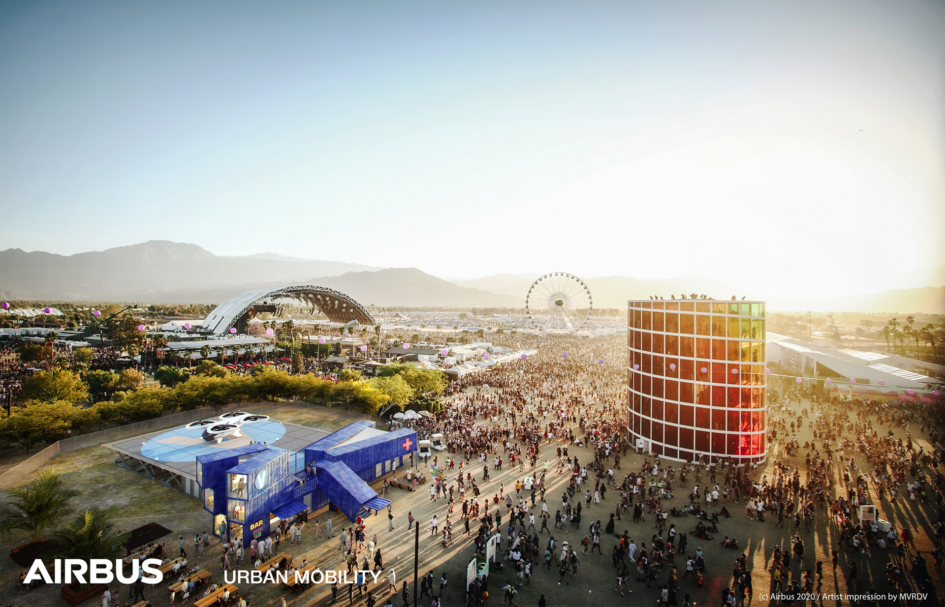 Our VertiPad concept facilitates access to temporary events, such as Coachella Festival in Indio, California, USA. This concept is for illustrative purposes only and not representative of an actual project with the city.