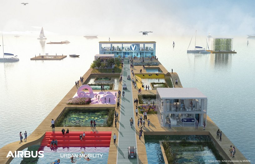Airbus Urban Mobility infrastructure concept: Half Moon Bay waterfront