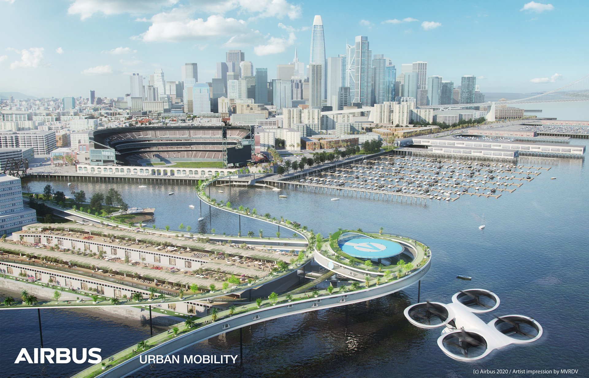 A representation of Airbus' innovative vision for urban air mobility in context of a large city and port area.