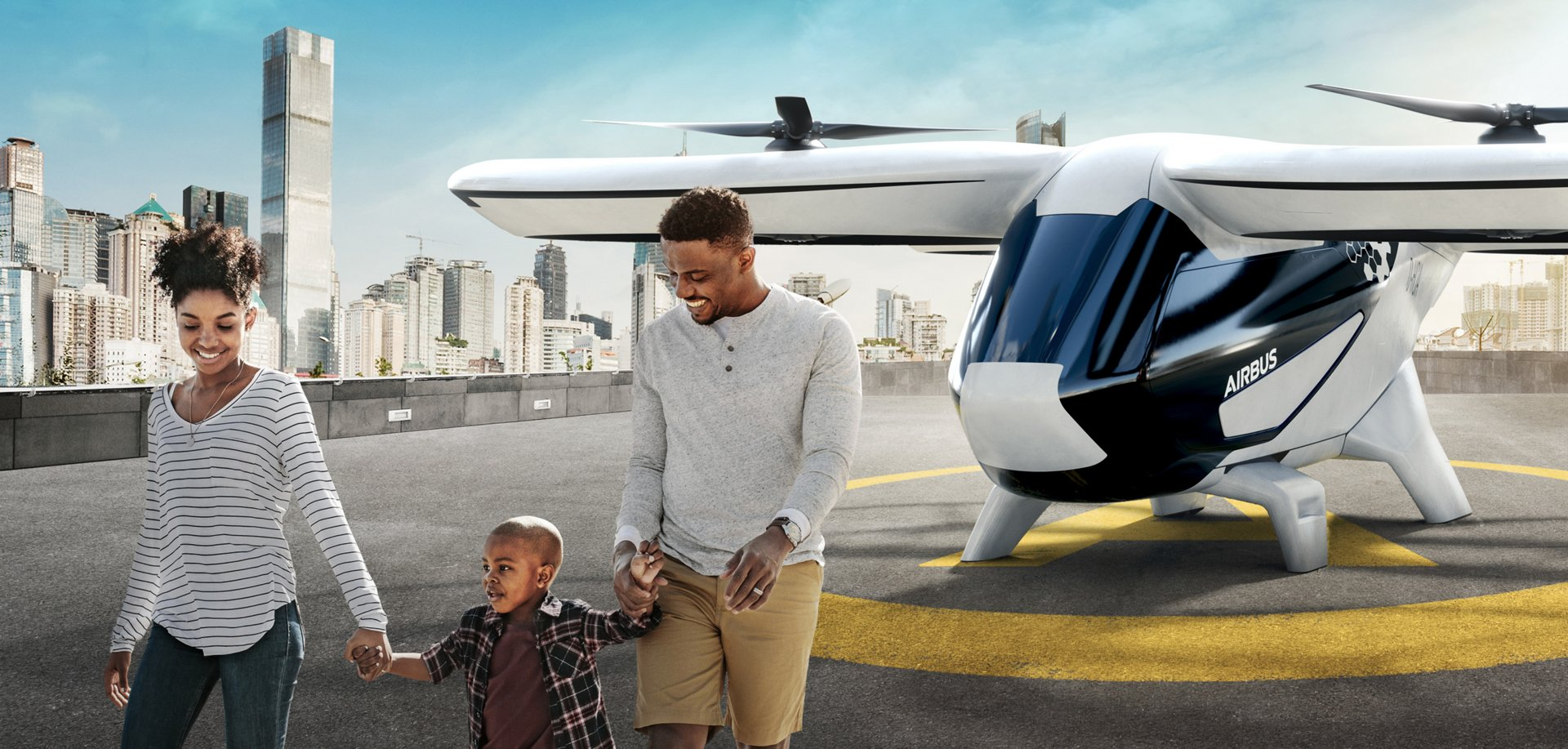 In this representative image, a family is depicted on the helipad after disembarking Airbus' CityAirbus four-seat electric vertical take-off and landing (eVTOL) vehicle.