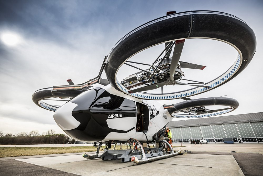 A dramatic view of the CityAirbus all-electric, four-seat multicopter vehicle demonstrator.