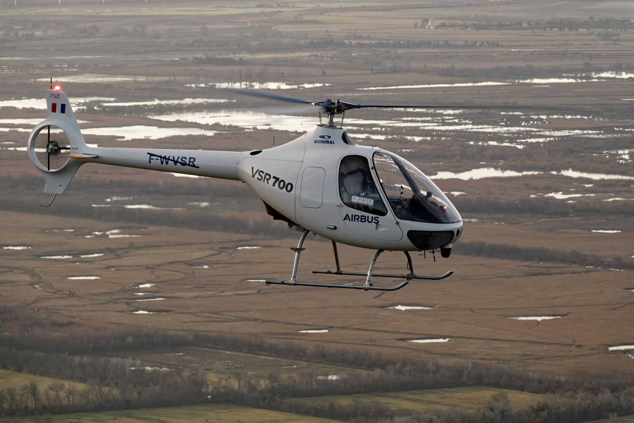 Airbus Helicopters' VSR700 Optionally Piloted Vehicle (OPV) demonstrator is shown during a flight trial.
