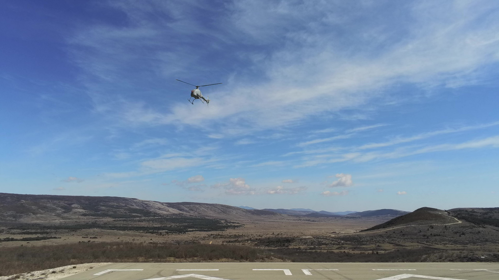 The Airbus VSR700 vertical takeoff/landing unmanned aerial vehicle is shown in the air during flight testing