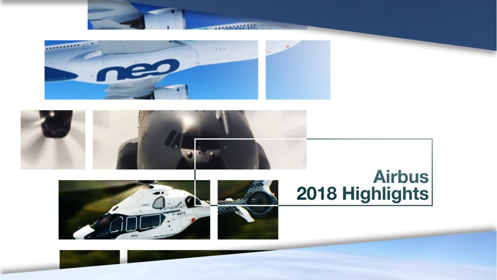 "Airbus lived up to its official motto ""We Make It Fly"" in 2018, with new achievements and key milestones across the international company's divisions (Commercial Aircraft, Helicopters, Defence and Space). The activity – showcased in this compilation video – included Airbus' continued development of game-changing aerospace technologies, as well as its strong customer focus and growing global footprint."