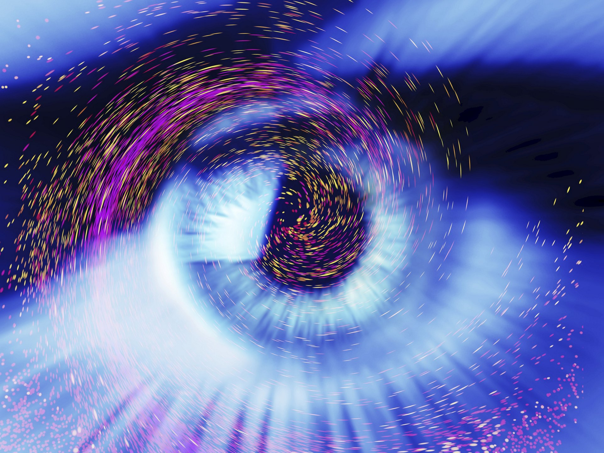 Photograph of a human eye overlaid computer artwork of colourful particles, depicting fantasy, imagination, dreaming, physics, light or stars.