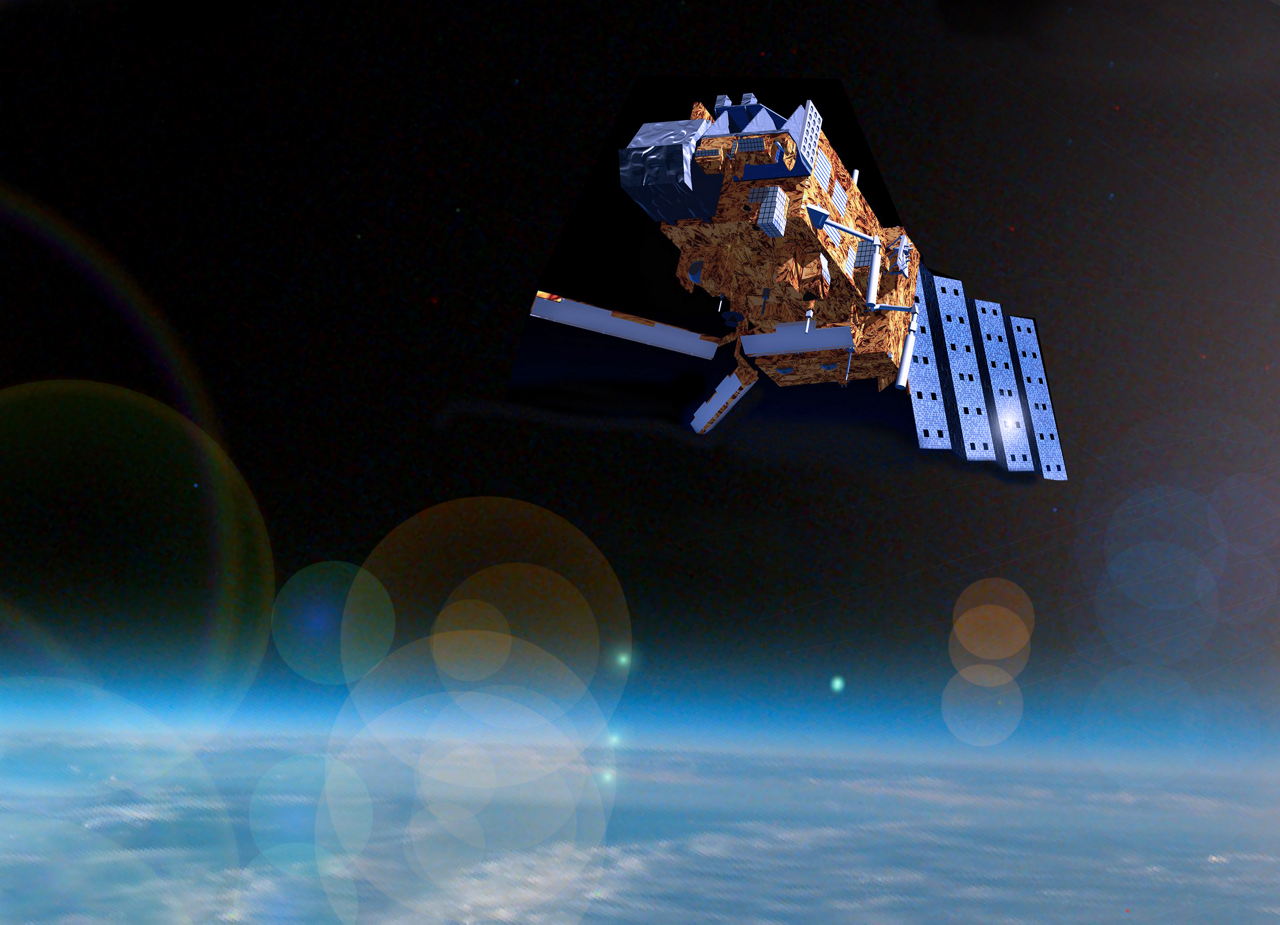 A representation of the Airbus-produced Metop-A weather satellite launched in 2006.