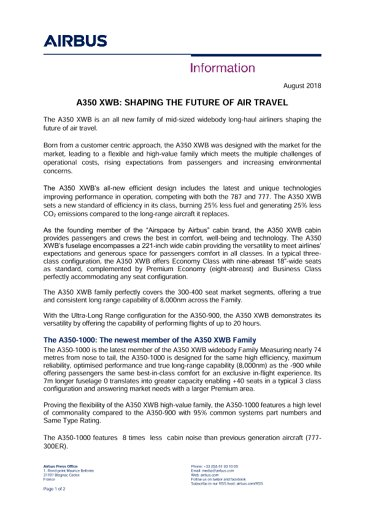 Airbus Aircraft A350 XWB Press Kit English