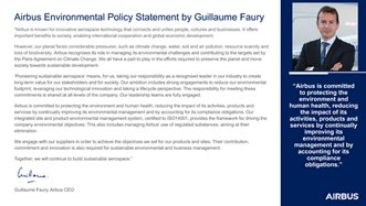 Airbus Environmental Policy Statement by Guillaume Faury