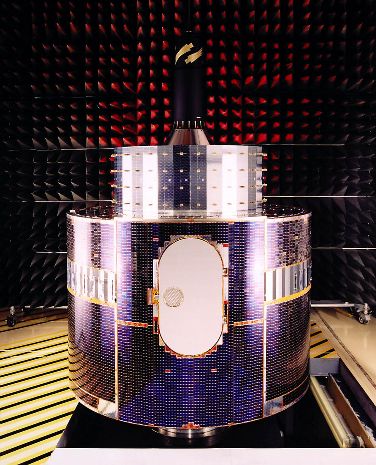 A detailed view of Europe's first weather satellite, Meteosat.