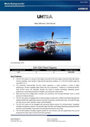 UH72A Lakota Backgrounder