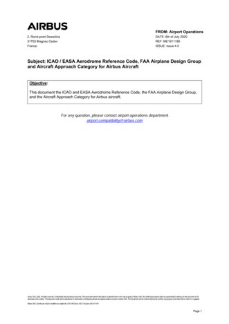ICAO Aerodrome Reference Code, FAA Airplane Design Group and Aircraft Approach Category for Airbus Aircraft (July 2020)