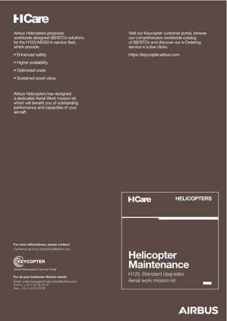 Helicopter Maintenance H125 Standard Upgrades Aerial work mission kit