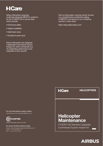Helicopter Maintenance H130/EC130 Standard Upgrades Commercial Tourism Mission kit