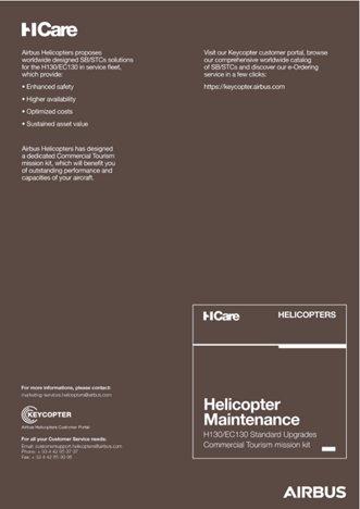 Helicopter Maintenance H130/EC130 Standard Upgrades Commercial Tourism Mission kit