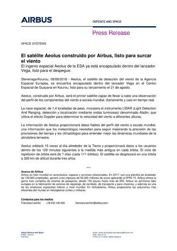 180809 Press Release SPACE_pre launch Aeolus_es