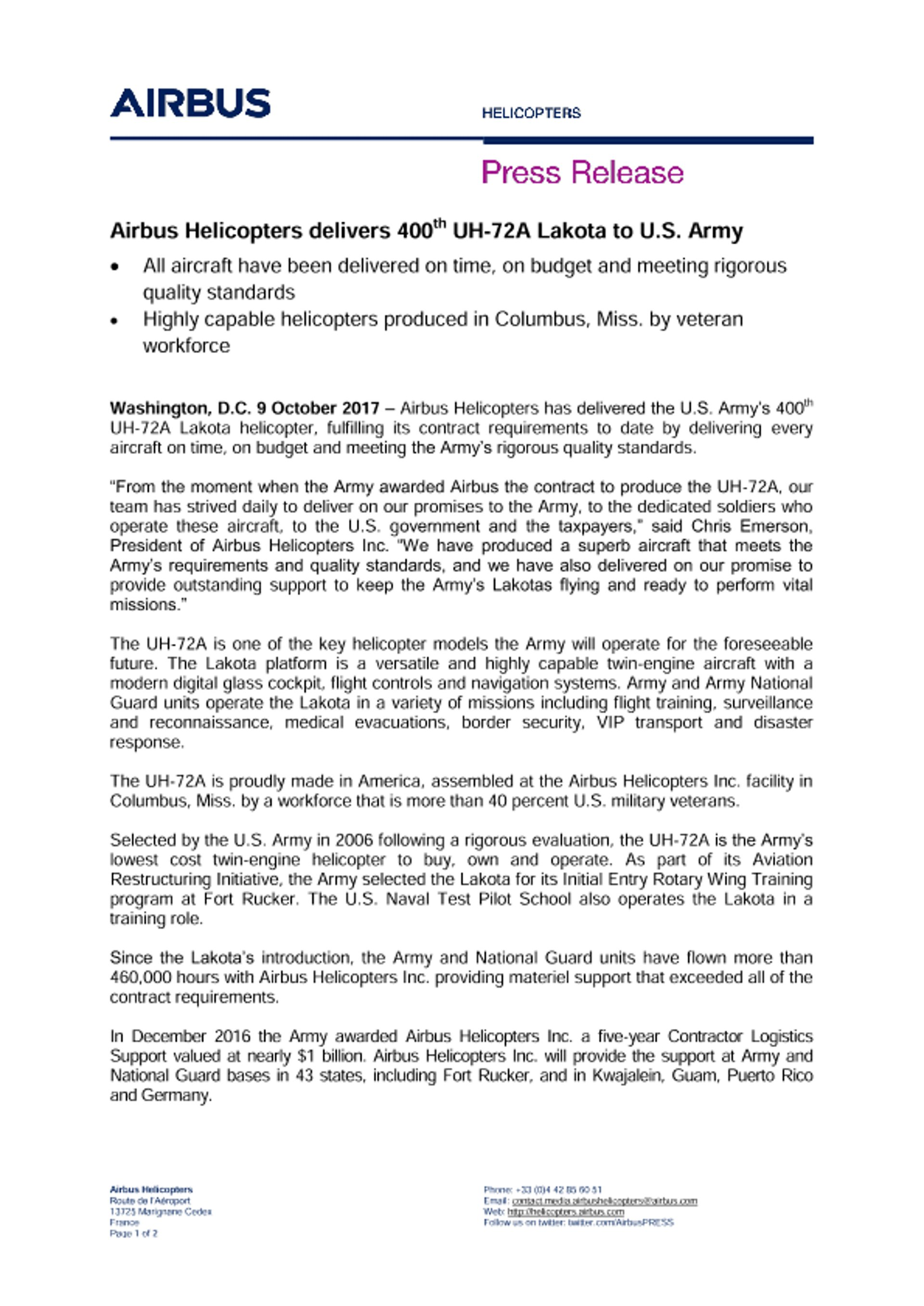 Airbus delivers 400 Lakotas to U.S. Army