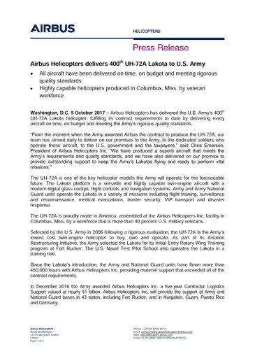 Airbus delivers 400 Lakotas to U.S. Army