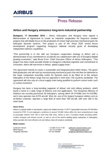 Airbus and Hungary announce long-term industrial partnership