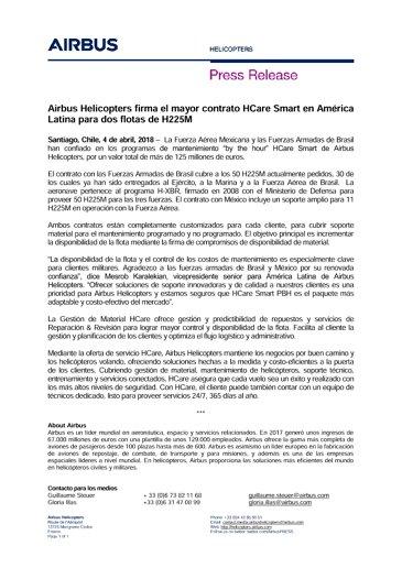 Airbus Helicopters firma el mayor contrato HCare Smart en América Latina para dos flotas de H225M