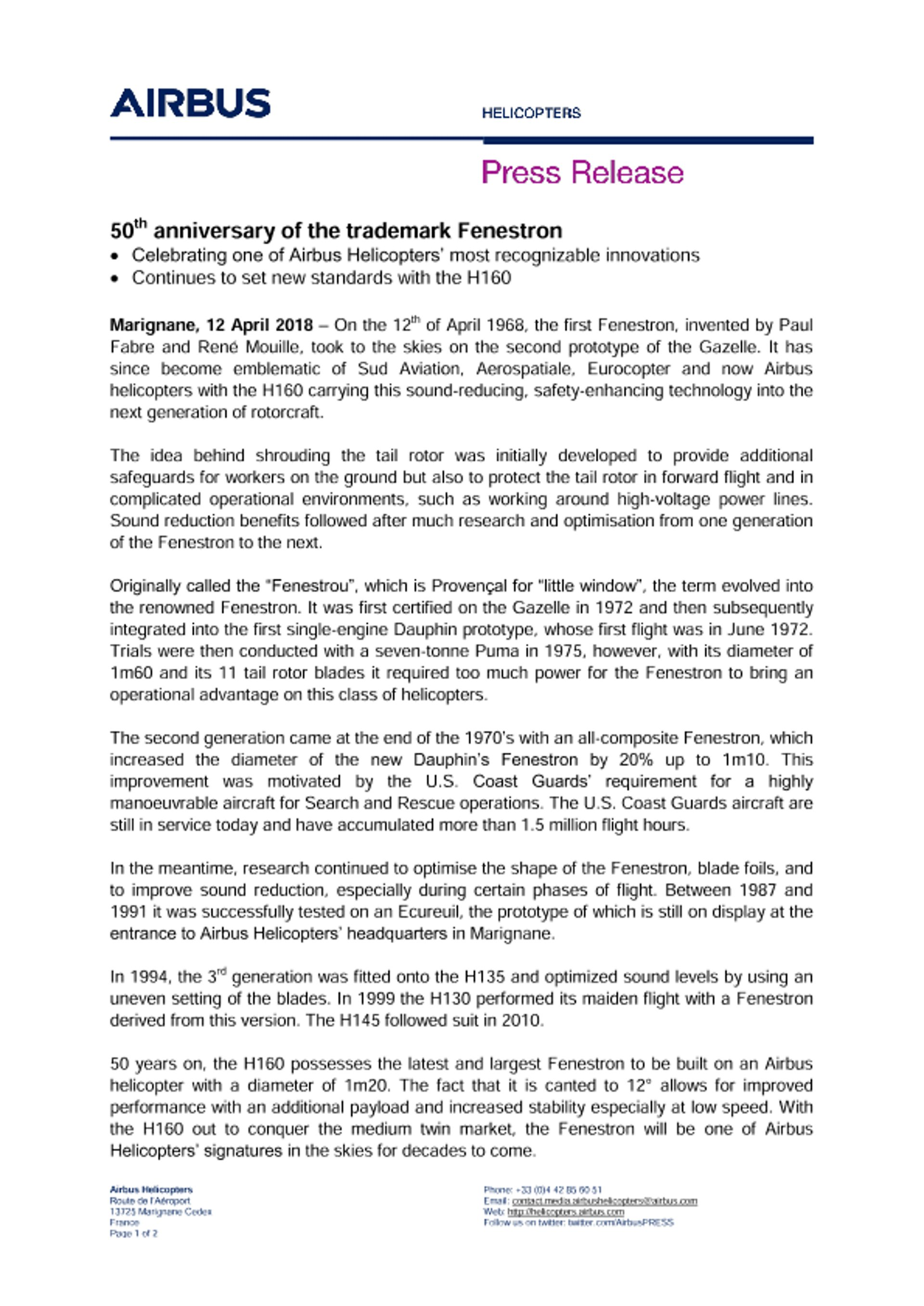50th anniversary of the trademark Fenestron EN