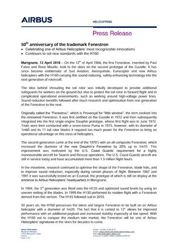 50th anniversary of the trademark Fenestron EN