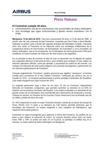50th anniversary of the trademark Fenestron ES