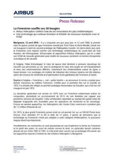 50th anniversary of the trademark Fenestron FR