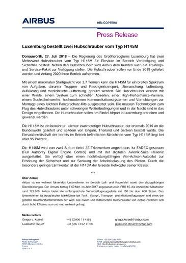 Luxemburg bestellt zwei Hubschrauber vom Typ H145M